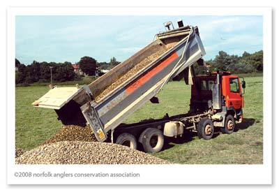 Stock pile of aggregates for riffle construction